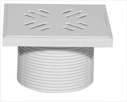 Padlószifon magasító műanyag ráccsal, fehér 150mmx150mm