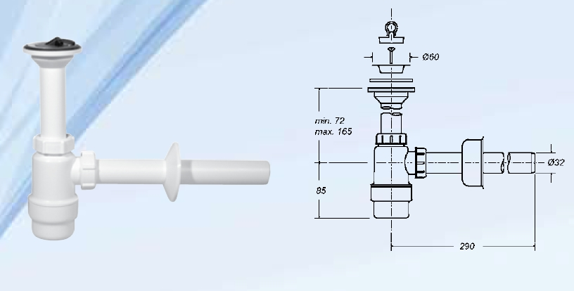Mosdószifon, fix leeresztővel 32mm-es elfolyással (STY-532)