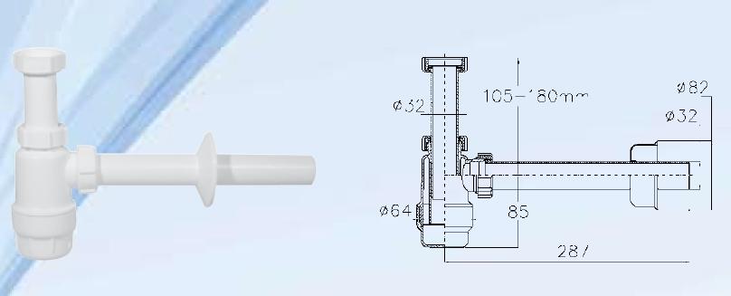 Mosdószifon mosógép csatlakozó és leeresztő nélkül, 32mm átmérővel
